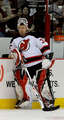 RALEIGH, NC - APRIL 26:  Goalie Martin Brodeur #30 of the Carolina Hurricanes looks on during warm-ups before Game Six of the Eastern Conference Quarterfinals of the 2009 Stanley Cup Playoffs against the New Jersey Devils on April 26, 2009 at the RBC Cent