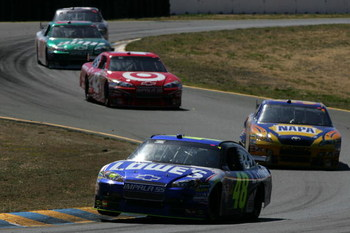 SONOMA, CA - JUNE 21: Jimmie Johnson, driver of the #48 Lowe's Chevrolet, leads the field during the NASCAR Sprint Cup Series Toyota/Save Mart 350 at the Infineon Raceway on June 21, 2009 in Sonoma, California.  (Photo by Todd Warshaw/Getty Images)