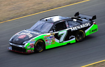 SONOMA, CA - JUNE 19: Robby Gordon, driver of the #7 Menards/Jim Beam Toyota, drives during practice for the NASCAR Sprint Cup Series Toyota/Save Mart 350 at the Infineon Raceway on June 19, 2009 in Sonoma, California.  (Photo by Robert Laberge/Getty Imag