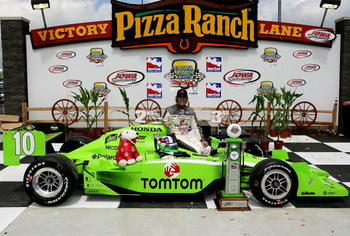 NEWTON, IA - JUNE 21:  Dario Franchitti driver of the #10 TOM TOM Target Chip Ganassi Racing Dallara Honda celebrates winning the IRL Indycar Series Iowa Corn Indy 250 on June 21, 2009 at the Iowa Speedway in Newton,Iowa.  (Photo by Darrell Ingham/Getty I
