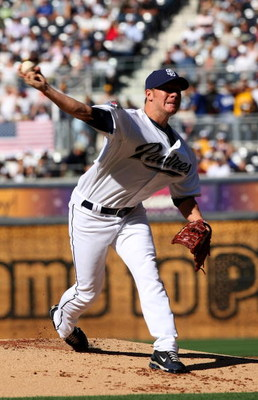 SAN DIEGO - APRIL 6:    Pitcher Jake Peavy #44 of the San Diego Padres throws a pitch against the Los Angeles Dodgers on Opening Day on April 6, 2009 at Petco Park in San Diego, California.   (Photo by Stephen Dunn/Getty Images)