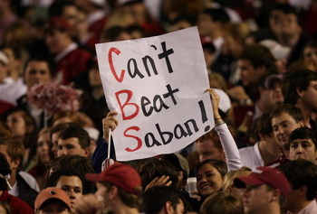 TUSCALOOSA, AL - NOVEMBER 29: Alabama fans show their support as the Alabama Crimson Tide take on the Auburn Tigers at Bryant-Denny Stadium on November 29, 2008 in Tuscaloosa, Alabama. Alabama defeated Auburn 36-0.  (Photo by Doug Benc/Getty Images)