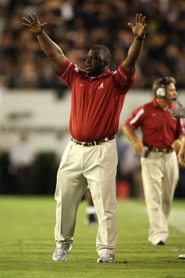 ATHENS, GA - SEPTEMBER 27:  Assitant running back coach Sedrick Irvin of the Alabama Crimson Tide celebrates after the Crimson Tide scored a touchdown in the fourth quarter against the Georgia Bulldogs at Sanford Stadium on September 27, 2008 in Athens, G