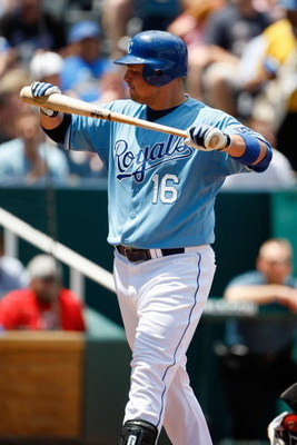 KANSAS CITY, MO - JUNE 14:  Billy Butler #16 of the Kansas City Royals reacts after batting against the Cincinnati Reds during the game on June 14, 2009 in Kansas City, Missouri. (Photo by Jamie Squire/Getty Images)
