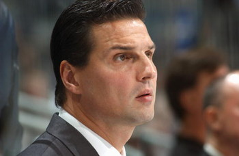 ATLANTA - NOVEMBER 9: Head coach Eddie Olczyk of the Pittsburgh Penguins looks on during the game against the Atlanta Thrashers on November 9, 2005 at Philips Arena in Atlanta, Georgia. The Thrashers won the game 5-0. (Photo by Scott Cunningham/Getty Imag