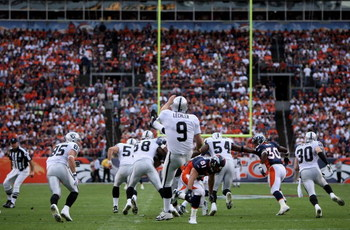 DENVER - SEPTEMBER 16:  Punter Shane Lechler #9 of the Oakland Raiders gets off a punt as the Denver Broncos defeated the Oakland Raiders 23-20 in overtime during week two NFL action at Invesco Field at Mile High on September 16, 2007 in Denver, Colorado.