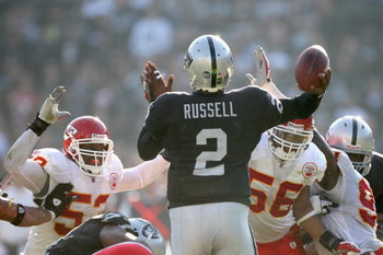 OAKLAND, CA - NOVEMBER 30:  Quarterback JaMarcus Russell #2 of the Oakland Raiders is rushed as he looks to pass the ball against the Kansas City Chiefs during an NFL game on November 30, 2008 at the Oakland-Alameda County Coliseum in Oakland, California.