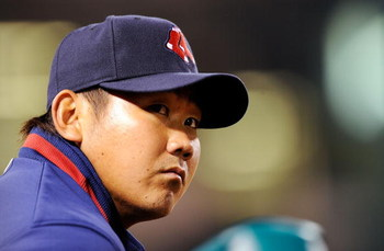 ANAHEIM, CA - APRIL 10: Pitcher Daisuke Matsuzaka of the Boston Red Sox follows the action against the Los Angeles Angels during the eight inning at Angel Stadium April 10, 2009 in Anaheim, California. Angels won, 6-3.  (Photo by Kevork Djansezian/Getty I