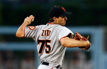 LOS ANGELES, CA - MAY 08:  Barry Zito #75 of the San Francisco Giants throws a pitch against the Los Angeles Dodgers at Dodger Stadium on May 8, 2009 in Los Angeles, California.  (Photo by Jeff Gross/Getty Images)