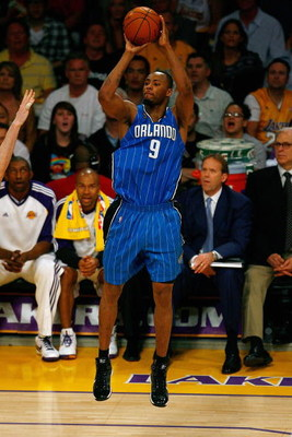 LOS ANGELES, CA - JUNE 07:  Rashard Lewis #9 of the Orlando Magic shoots a jumper in Game Two of the 2009 NBA Finals against the Los Angeles Lakers at Staples Center on June 7, 2009 in Los Angeles, California.  The Lakers won 101-96.  NOTE TO USER: User e