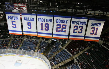 UNIONDALE, NY - JANUARY 29:  The New York Islanders  banners honoring the retired jerseys of Denis Potvin, Clark Gillies, Bryan Trottier, Mike Bossy, Bob Nystrom and Bill Smith are shown during the game against the Ottawa Senators on January 29, 2008 at N