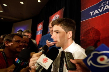 MONTREAL, QC - JUNE 25:  NHL Draft top prospect John Tavares answers questions from the press during the NHL Top Prospects Media Luncheon June 25, 2009 at the Marriott Montreal Chateau Champlain in Montreal, Canada.  (Photo by Jamie Squire/Getty Images)