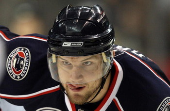 DALLAS - DECEMBER 18:  Rick Nash #61 of the Columbus Blue Jackets during play against the Dallas Stars at the American Airlines Center on December 18, 2008 in Dallas, Texas.  (Photo by Ronald Martinez/Getty Images)