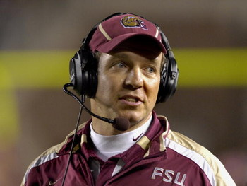 TALLAHASSEE, FL - OCTOBER 27: Offensive coordinator Jimbo Fisher of the Florida State Seminoles directs play against the Duke Blue Devils at Doak Campbell Stadium on October 27, 2007 in Tallahassee, Florida.  FSU won 25-6. (Photo by Al Messerschmidt/Getty