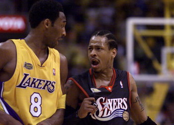 8 Jun 2001:  Allen Iverson #3 of the Philadelphia 76ers argues with Kobe Bryant #8 of the Los Angeles Lakers during Game 2 of the NBA Finals at the Staples Center in Los Angeles, California.  The Lakers defeated the 76ers 98-89.  DIGITAL IMAGE Mandatory C