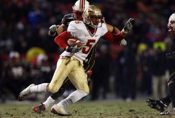 COLLEGE PARK, MD - NOVEMBER 22:  Preston Parker #5 of the Florida State Seminoles runs the ball against the Maryland Terrapins on November 22, 2008 at Byrd Stadium in College Park, Maryland.  (Photo by Jim McIsaac/Getty Images)