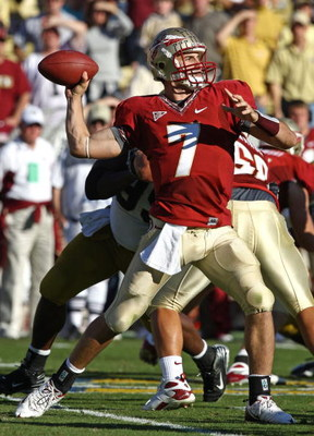ATLANTA - NOVEMBER 1:  Quarterback Christian Ponder #7 of the Florida State Seminoles throws a pass during the game against the Georgia Tech Yellow Jackets at Bobby Dodd Stadium at Historic Grant Field on November 1, 2008 in Atlanta, Georgia.  Georgia Tec