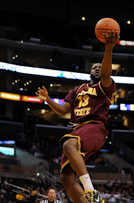 LOS ANGELES, CA - MARCH 13:  Guard James Harden #13 of the Arizona State Sun Devils goes up for a shot against the Washington Huskies in the Pacific Life Pac-10 Men's Basketball Tournament at the Staples Center on March 13, 2009 in Los Angeles, California
