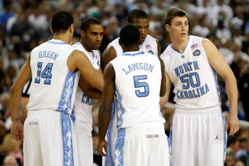 DETROIT - APRIL 06:  The North Carolina Tar Heels huddle up prior to playing against the Michigan State Spartans during the 2009 NCAA Division I Men's Basketball National Championship game at Ford Field on April 6, 2009 in Detroit, Michigan.  (Photo by St