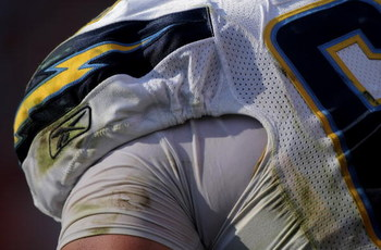 DENVER - SEPTEMBER 14:  Detail of the equipment and uniform of tackle Kris Dielman #68 of the San Diego Chargers as he awaits action against the Denver Broncos during NFL action at Invesco Field at Mile High on September 14, 2008 in Denver, Colorado. The