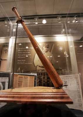 NEW YORK - NOVEMBER 23:  The bat which Babe Ruth used to hit the first home run in Yankee Stadium is seen at a Sotheby's preview of a baseball memorabilia sale titled 'The Babe Comes Home' November 23, 2004 in New York City. The sale will feature importan