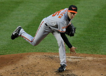 NEW YORK - MAY 19:  Brad Bergesen #64 of the Baltimore Orioles pitches against the New York Yankees on May 19, 2009 at Yankee Stadium in the Bronx borough of New York City.  The Yankees defeated the Orioles 9-1.  (Photo by Jim McIsaac/Getty Images)