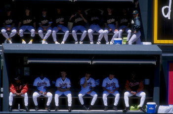 25 Apr 1998:  A view of the bullpen during the Baltimore Orioles 8-2 win over the Oakland A''s at Camden Yards in Baltimore, Maryland. Mandatory Credit: Doug Pensinger  /Allsport