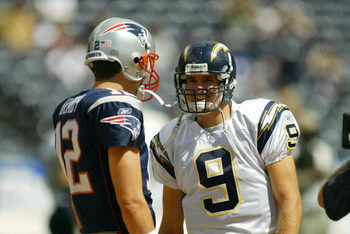 SAN DIEGO - SEPTEMBER 29:  Tom Brady #12  of the New England Patriots and Drew Brees #9 of the San Diego Chargers have a few words before a game on September 29, 2002 at Qualcomm Stadium in San Diego, California. (Photo by Doug Benc/Getty Images)