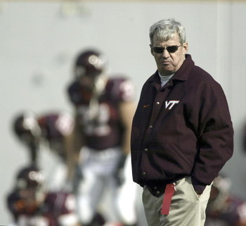 BLACKSBURG, VA - NOVEMBER 27:  Head coach Frank Beamer of the Virginia Tech Hokies watches his team warm up before a game against the Virginia Cavaliers on November 27, 2004, at Lane Stadium in Blacksburg, Virginia. Virginia Tech defeated Virginia 24-10.