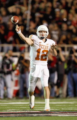 LUBBOCK,TEXAS - NOVEMBER 1:  Quarterback Colt McCoy #12 of the Texas Longhorns passes the ball during the game against the Texas Tech Red Raiders on November 1, 2008 at Jones Stadium in Lubbock, Texas. (Photo by: Jamie Squire/Getty Images)