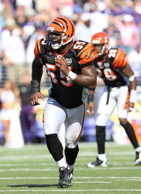 BALTIMORE - SEPTEMBER 7: Linebacker Keith Rivers #55 of the Cincinnati Bengals looks to make a tackle against # of the Baltimore Ravens at M&amp;T Bank Stadium on September 7, 2008 in Baltimore, Maryland. The Ravens won 17-10. (Photo by Ned Dishman/Getty Imag