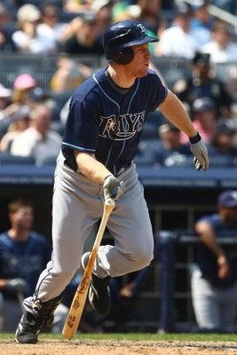 NEW YORK - JUNE 07:  Gabe Gross #26 of the Tampa Bay Rays at bat  against the New York Yankees during their game on June 7, 2009 at Yankee Stadium in the Bronx borough of New York City.  (Photo by Chris McGrath/Getty Images)