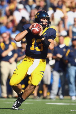 BERKELEY, CA - OCTOBER 25: Quarterback Kevin Riley #13 of the Cal Golden Bears drops back to pass during the second quarter against the UCLA Bruins at Memorial Stadium on October 25, 2008 in Berkeley, California. (Photo by Jeff Gross/Getty Images)