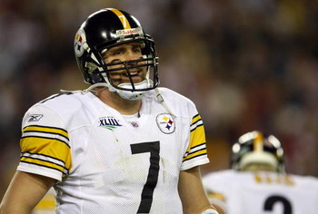 TAMPA, FL - FEBRUARY 01:  Quarterback Ben Roethlisberger #7 of the Pittsburgh Steelers looks on against the Arizona Cardinals during Super Bowl XLIII on February 1, 2009 at Raymond James Stadium in Tampa, Florida.  (Photo by Jamie Squire/Getty Images)