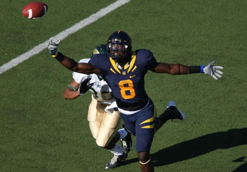 BERKELEY, CA - SEPTEMBER 27:  Nyan Boateng #8 of the California Golden Bears can't reach a pass as Miles Tamminga #30 of the Colorado State Rams defends during an NCAA football game on September 27, 2008 at Memorial Stadium in Berkeley, California.  (Phot