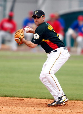 BRADENTON, FL - MARCH 10:  Shortstop Jack Wilson #2 of the Pittsburgh Pirates prepares to make the throw to first against the Philadelphia Phillies during the Grapefruit League Spring Training game on March 10, 2008 at McKechnie Field in Bradenton, Florid