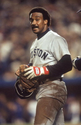 FLUSHING, NY - OCTOBER 27:  Jim Rice #14 of the Boston Red Sox stands on the field during Game seven of the 1986 World Series against the New York Mets at Shea Stadium on October 27, 1986 in Flushing, New York. The Mets defeated the Red Sox 8-5 to win the