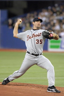 TORONTO - APRIL 6:  Justin Verlander #35 of the Detroit Tigers delivers the pitch during the Opening Day game against the Toronto Blue Jays at the Rogers Centre April 6, 2009 in Toronto, Ontario. (Photo by: Dave Sandford/Getty Images)