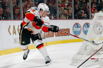 DETROIT - DECEMBER 10:  Mike Cammalleri #13 of the Calgary Flames skates during the game against the Detroit Red Wings at Joe Louis Arena December on 10, 2008 in Detroit, Michigan. (Photo by Dave Sandford/Getty Images)