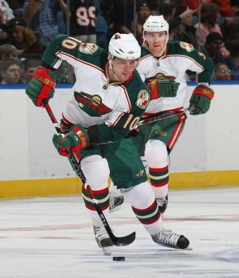 UNIONDALE, NY - MARCH 25:  Marian Gaborik #10 of the Minnesota Wild skates against the New York Islanders on March 25, 2009 at the Nassau Coliseum in Uniondale, New York.  (Photo by Bruce Bennett/Getty Images)