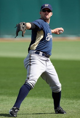 GOODYEAR , AZ - MARCH 06:  Trot Nixon #3 of the Milwaukee Brewers warms up before the spring training game against the Cleveland Indians at Goodyear Ballpark on March 6, 2009 in Goodyear, Arizona. The Brewers defeated the Indians 17-7.  (Photo by Christia
