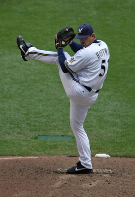 MILWAUKEE - MAY 14: Trevor Hoffman #51 of the Milwaukee Brewers delivers the ball against the Florida Marlins on May 14, 2009 at Miller Park in Milwaukee, Wisconsin. The Brewers defeated the Marlins 5-3.  (Photo by Jonathan Daniel/Getty Images)