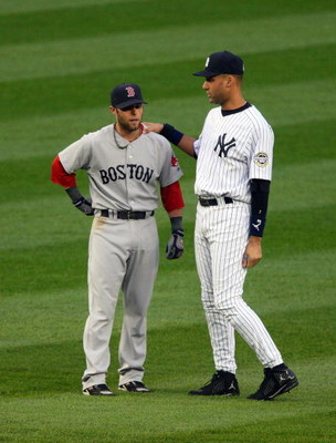 NEW YORK - MAY 05:  Derek Jeter #2 of the New York Yankees talks with Dustin Pedroia #15 of the Boston Red Sox prior to their game on May 5, 2009 at Yankee Stadium in the Bronx borough of New York City.  (Photo by Jim McIsaac/Getty Images)