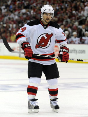 RALEIGH, NC - APRIL 26: Brian Gionta #14 of the the New Jersey Devils skates as he waits for a face-off in the first period of Game Six of the Eastern Conference Quarterfinals of the 2009 Stanley Cup Playoffs against the Carolina Hurricanes on April 26, 2