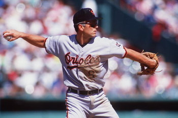 12 JUN 1993:  BALTIMORE ORIOLES SHORTSTOP CAL RIPKEN MAKES A THROW TO FIRST BASE DURING A GAME AGAINST THE RED SOX. Mandatory Credit: Rick Stewart/ALLSPORT