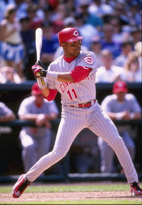 11 Apr 1998:  Infielder Barry Larkin of the Cincinnati Reds in action during a game against the Colorado Rockies at the Coors Field in Denver, Colorado.  The Reds won the game, 12-5. Mandatory Credit: Brian Bahr  /Allsport