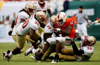 COLLEGE PARK, MD - NOVEMBER 22:  Chris Turner #10 of the Maryland Terrapins is sacked by Everette Brown #99 of the Florida State Seminoles on November 22, 2008 at Byrd Stadium in College Park, Maryland.  (Photo by Jim McIsaac/Getty Images)