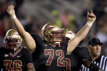 TALLAHASSEE, FL - OCTOBER 27: Defensive tackle Budd Thacker #72 of the Florida State Seminoles celebrates a touchdown against the Duke Blue Devils at Doak Campbell Stadium on October 27, 2007 in Tallahassee, Florida.  FSU won 25-6. (Photo by Al Messerschm