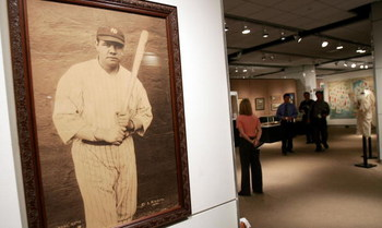 NEW YORK - NOVEMBER 23:   A signed photograph of Babe Ruth is seen at a Sotheby's preview of a baseball memorabilia sale titled 'The Babe Comes Home' November 23, 2004 in New York City. The sale will feature important historical baseball relics with items
