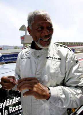BARCELONA, SPAIN - MAY 21:  Oscar winning actor Morgan Freeman prepares to be driven during the MB-AMG Driving Experience prior to the Laureus World Sports Awards at the Circuit de Catalunya on May 21, 2006 in Barcelona, Spain.  (Photo by Jamie McDonald/G